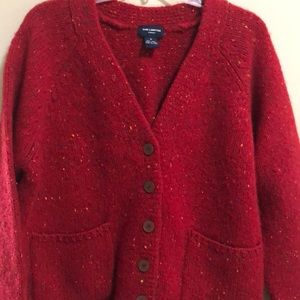 The Limited Sweater Cardigan 100% Wool SZ M Red